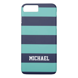 Customized Hipster Navy Blue Turquoise Stripes iPhone 7 Plus Case