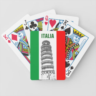 Customized Leaning Tower of Pisa and Italian Flag Bicycle Playing Cards