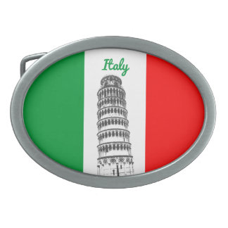 Customized Leaning Tower of Pisa and Italy's Flag Belt Buckles