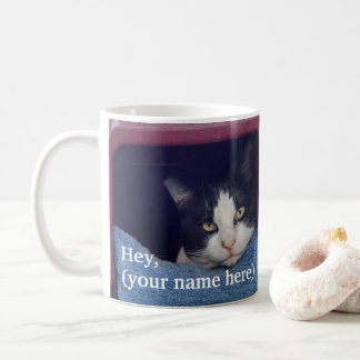 Customized left handed screaming cat coffee mug