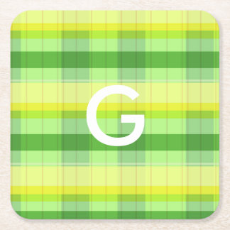 Customized letter coaster plaid pattern