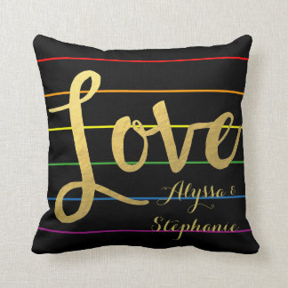 Customized Love Rainbow Pinstripe LGBT Couple Throw Pillow