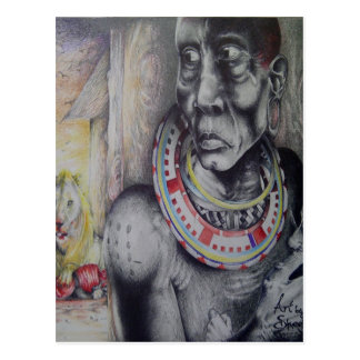 Customized Masai Tribe Postcard Vertical Template
