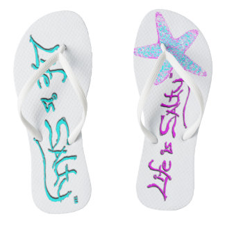Customized mismatching flip flops that POP!