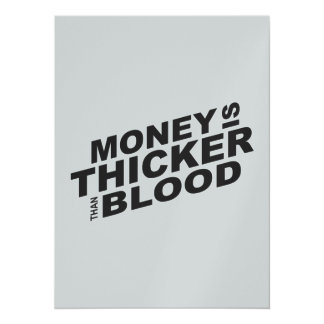 Customized Money is Thicker Than Blood Stamps 14 Cm X 19 Cm Invitation Card