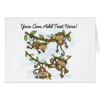 Customized Monkey Shine Animals Note Cards