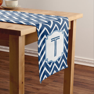 Customized Monogram Chevron Pattern A15A BLUE Long Table Runner