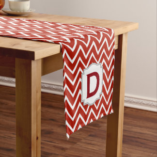 Customized Monogram Chevron Pattern A15D Red Short Table Runner