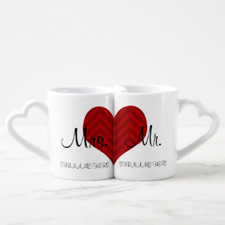 Customized Mrs. & Mr.  Wedding / Anniversary Date Coffee Mug Set