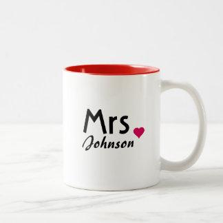 Customized Mrs mug - half of Mr and Mrs set