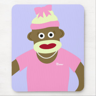 Customized Name or Monogram Sock Monkey Girl Mouse Pad
