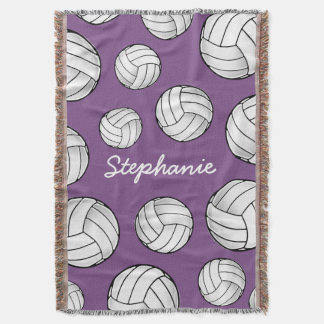 Customized Name Volleyball Purple Throw Blanket