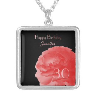 Customized Necklace Coral Pink Rose 30th Birthday