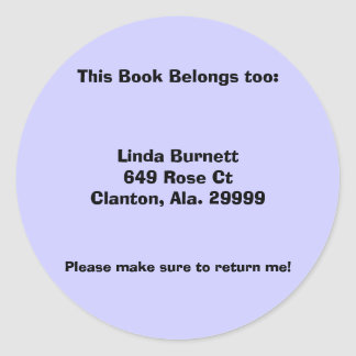 Customized Personalized Book Labels Round Sticker