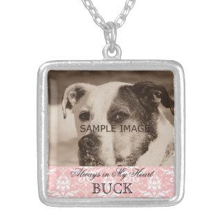 Customized Pet Memorial Photo Keepsake Pink Damask Square Pendant Necklace