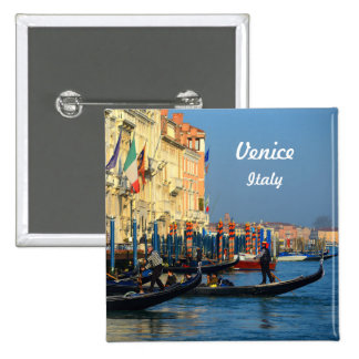 Customized Picture of Gondolas From Venice, Italy 15 Cm Square Badge