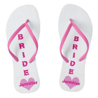 Customized Pink Heart Bride Flip Flops Thongs