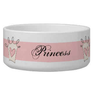 Customized Pink Princess Dog Bowl