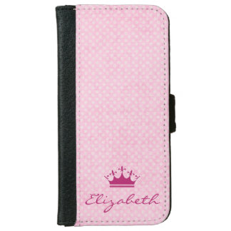 Customized Pink Tiara with Polka Dots iPhone 6 Wallet Case