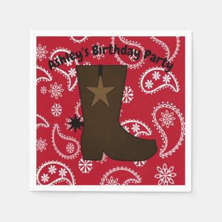 Customized  Red Bandana Cowboy Boot Disposable Serviette
