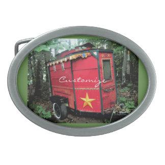 Customized Red Gypsy tiny caravan Belt Buckle