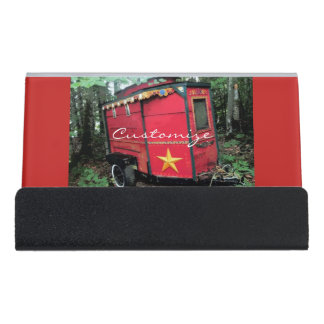 Customized Red Gypsy tiny caravan Desk Business Card Holder