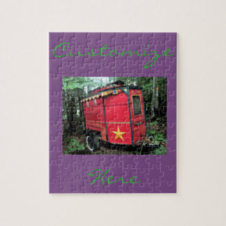 Customized Red Gypsy tiny caravan Jigsaw Puzzle