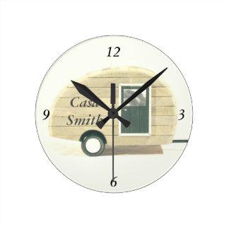 Customized Retro teardrop camper tan Round Clock