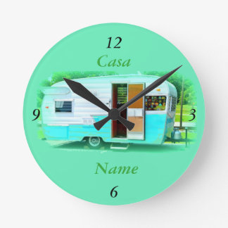 Customized Retro Vintage camper caravan Round Clock