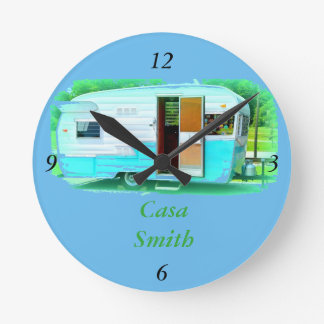 Customized Retro Vintage camper trailer Round Clock