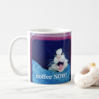 Customized right handed screaming cat coffee mug