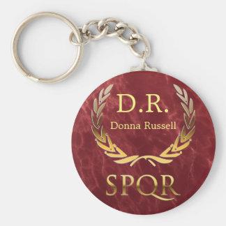 Customized Roman Monogram Basic Round Button Key Ring