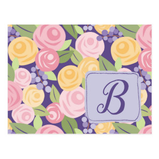 Customized Rose Floral Pattern Post Card