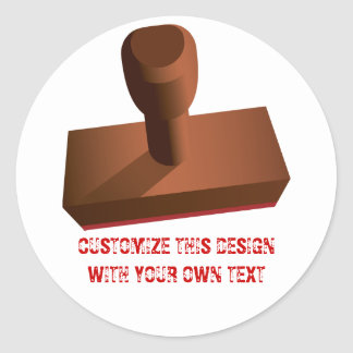 Customized Rubber Stamp impression 1 Classic Round Sticker