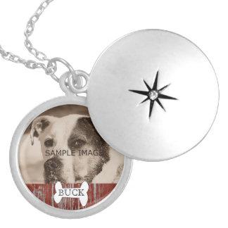 Customized Rustic   Pet Photo Memorial Keepsake Locket Necklace