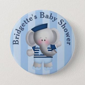 Customized Sailor Elephant Baby Shower Button