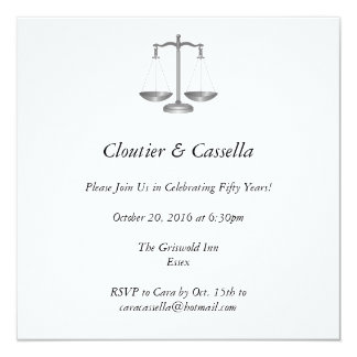 Customized Scales of Justice 13 Cm X 13 Cm Square Invitation Card