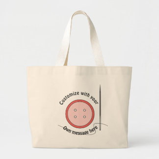 Customized Sewing Button and Needle Large Tote Bag