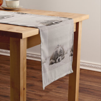 Customized Shih tzu Table Runner, Sleeping Dog Short Table Runner