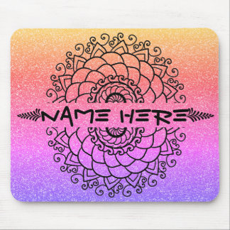 Customized Split Mandala with Name or Text Mouse Pad
