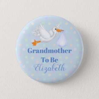 Customized Stork Grandmother To Be Baby Shower 6 Cm Round Badge
