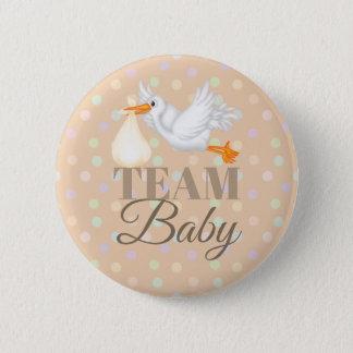 Customized Stork Team Neutral Baby Shower Button