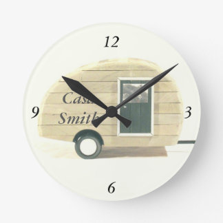 Customized Streamlined teardrop camper tan Round Clock