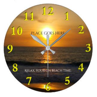 Customized Sunset on the Beach Large Clock
