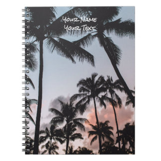 Customized Tropical Palm Trees Sunset Summer Spiral Note Book