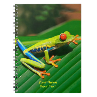 Customized Tropical rainforest green red-eyed Frog Spiral Note Books