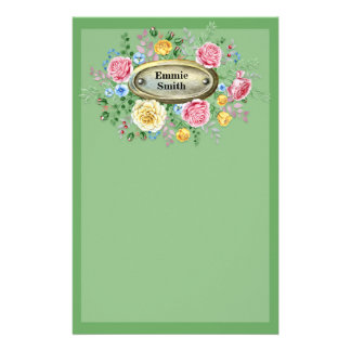 Customized Vintage Pink Yellow Floral Greenery Stationery