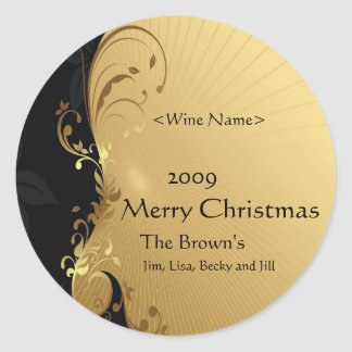 Customized Wine Labels for Christmas Gold Round Sticker