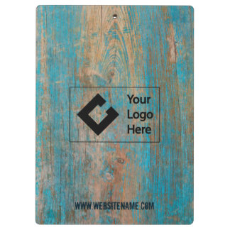 Customized with Logo Weathered Blue Paint Wood Clipboards