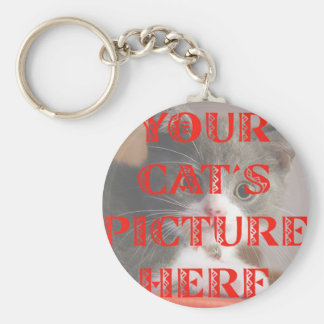 Customized Your Cat's Photo Basic Round Button Key Ring